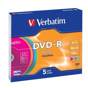 Verbatim datový nosič Dvd-r 4,7GB / 16x/ slim colour
